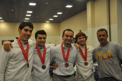 Coach Lehfeldt with the 2011 Bronze Medal National team and his coaching mentor Mario Jelev.