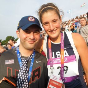 Coach Lehfeldt at the 2012 London Olympic Games with Student Suzanne Stettinius